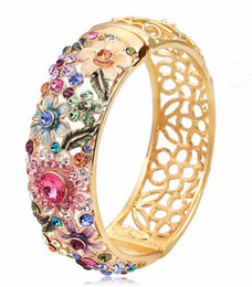 Wholesale 24k Gold Bracelets For Women - New Vintage 2014 Elegant Flower Bangle Gifts For Women Cloisonne Pierced Jewelry Austrian Crystal Rhinestones 24k Gold Plated Brand Bracelet