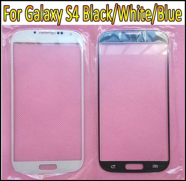 Touch Screen Outer Glass Replacement for Galaxy S4 i9500 i9505 Digitizer Cover Lens Black White Blue Colors Free Shipping