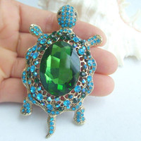 Broche de tortue de tortue de tortue strass w Turquoise strass cristal EE06158C2