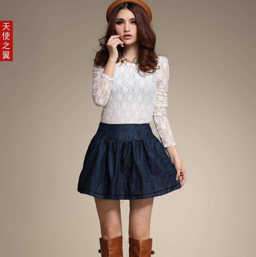 Denim Skirt Lady Short Skirt Denim Short Puff Skirt for Woman ...