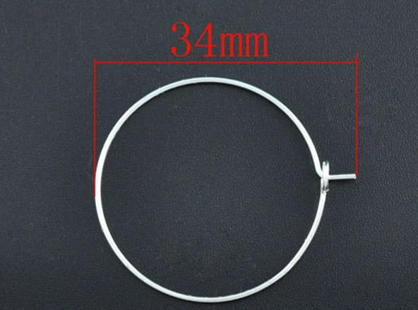 Silver Plated Wine Glass Charm Rings/Earring Hoops 34x30mm Findings Wholesale