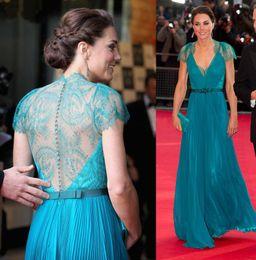 Wholesale Evening Dresses Kate Middleton - 2013 Celebrity Dress Kate Middleton Sheer Lace Back Charming Evening Dresses A-Line V-Neck Blue Chiffon Lace Sash Cap Sleeve Formal Dress