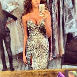 Wholesale Sweetheart Floor Length Feather Dress - 2015 Luuxury Sexy party Dress Sweetheart Backless Column Crystals Beads Feathers Side Slit Long Evening dresses