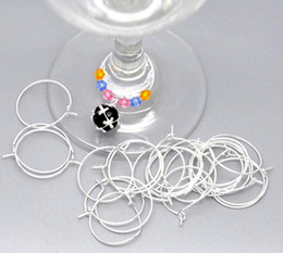 Wholesale Wine Hoops Wholesale - Free Shipping 600pcs Silver Plated Wine Glass Charm Rings  Earring Hoops 25x20mm