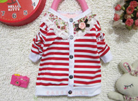 Wholesale Mixed Kids Clothes - Wholesale -Kids clothing chidren's sweaters girl cardigan Girls stripe cardigan 6p l