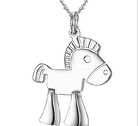 "Wholesale Cheap Horse Necklaces - OUTLETS!Pony pendants,Korean charm necklace,zodiac fashion jewelry year of horse ""good luck"" pendants,Platinum plating cheap jewelry.8pcs.CL"