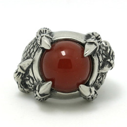 Wholesale Eagle Claw Rings - Mens Boys 316L Stainless Steel Cool Eagle Dragon Claw Snake Skin Ruby CZ Factory Price