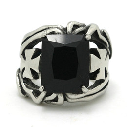 Wholesale Mens Black Cross Ring - New Arrival Mens Boys 316L Stainless Steel Cool Hollow Out Cross Silver Black Faceted CZ New Style Angel Wing Newest Ring