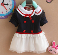 Wholesale Girls Cardigan Retail - Free shipping baby girls clothing retail 2013 autumn new style baby girls Lapel cardigan shirt skirt baby kids coat A035