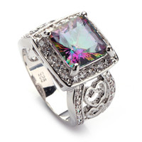 Romantic Fashion Rainbow Mystic stone Silver Plated RING R74...