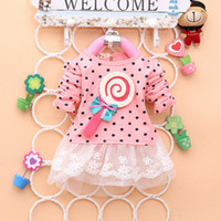 Wholesale Dots Sweater Girls - 2014 Newest Fashion Spring Kids sweater greatly lollipop full version Dot Girls T-shirt stitching Baby Girls lace Dresses A131
