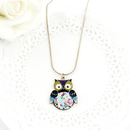 Wholesale Lovely Beaded Necklace - New style hot selling alloy red and blue color lovely bird pendant necklace