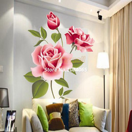Wholesale Red Rose Wall Stickers - Red Rose Flower Decal Vinyl Wall PVC Sticker Decoration Living DIY Home Art Wallpaper Room House Sticker Poster 18203 A0001