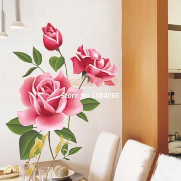 Red Rose Flor Decalque Da Parede Do Vinil PVC Adesivo Decoração Living DIY Início Art Papel De Parede Quarto Casa Adesivo Poster 18203 A0001