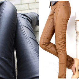 Free shipping Fashion Women Skinny PU Leather Pants Pencil Pockets Pants Black Khaki S M L XL