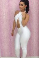 ingrosso donna clubwear uomo-Spedizione gratuita Womens Clubwear vestito Outfit senza maniche Hollow Bodycon Benda JUMPSUIT BODYSUIT SML