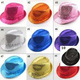 Wholesale Sequin Cowboy Hats - Adults sequins jazz hat New Sequins Adult Fedora Hat Fedoras Magic show hat