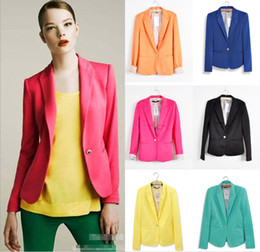 Wholesale Womens Green Jacket - 2014 Tops Fashion Blaze Womens Suit Tunic Foldable sleeve candy Color lined striped Blazer Jacket shawl cardigan Coat one button 6 Colours
