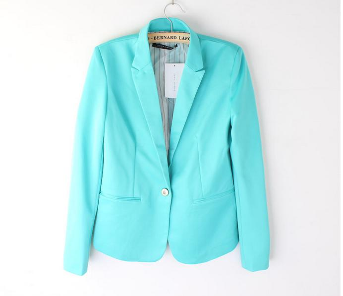 2014 Tops Moda Blaze Womens Suit Tunik Katlanabilir kollu şeker Renk çizgili çizgili Blazer Ceket şal hırka Coat tek düğme 6 Renkler