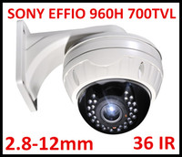 Wholesale Effio Dome Cameras - Free DHL or EMS Security CCTV 700TVL Sony Effio VIP Vandalproof 30pcs IR LED Dome Camera with 2.8-12mm varifocal lens with big bracket