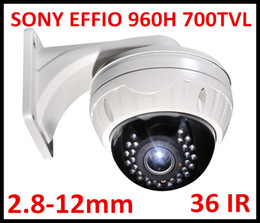 Wholesale Vandalproof Dome - Free DHL or EMS Security CCTV 700TVL Sony Effio VIP Vandalproof 30pcs IR LED Dome Camera with 2.8-12mm varifocal lens with big bracket