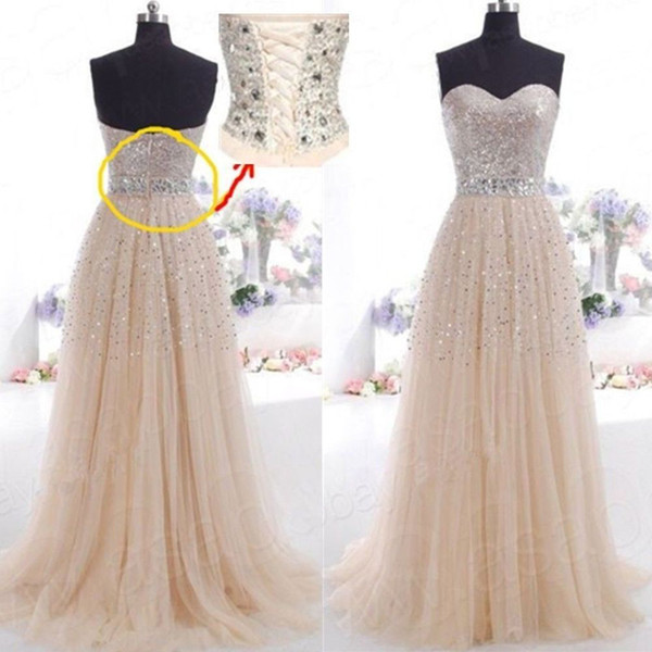 Charming Sequins Long Prom Dresses Sweetheart A Line Lace Up College ...