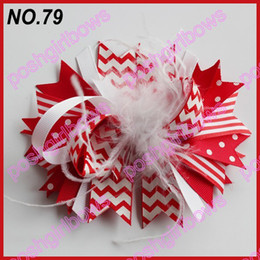 Wholesale Girl Funky - free shipping 35ps fashion boutique girl hair bow feather bows funky hair bows