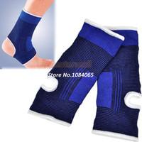 soporte de tobillo azul al por mayor-Nueva Llegada 1 Par Tobillo Pad Protección Elastic Brace Guard Support Deportes Gimnasio Azul 6725 Envío Gratis