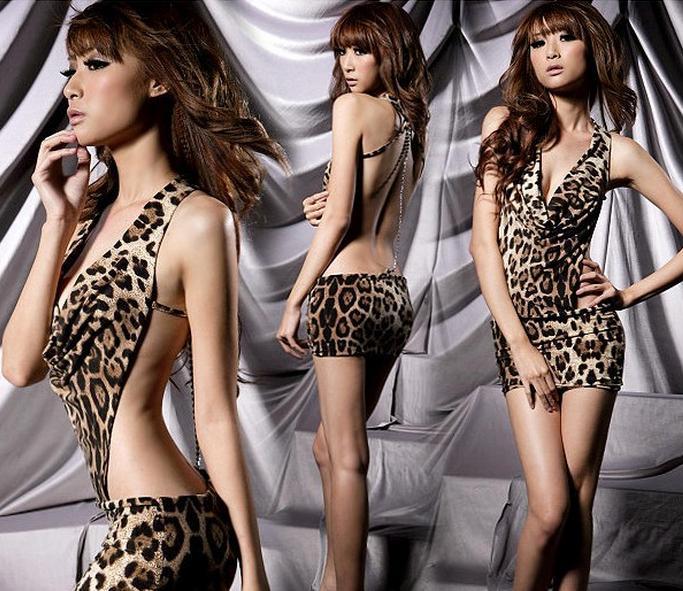 Бесплатная доставка сексуальная женская леопардовый печати белье нижнее белье Пантера печати сна носить мини-платье DS косплей секс нижнее белье эротическое белье