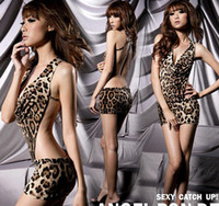 Wholesale Sexy Sleeping Sex - Free Shipping Sexy Women's Leopard Print Lingerie Underwear Panther Print Sleep Wear Mini Dress DS cosplay Sex Underwear Erotic Underwear