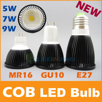 Spotlight COB 5W COB LED Bulb 5W 7W 9W black shell high brightness Lamp GU10 E27 MR16 AC85-265V  DC 12V LED COB Spotlight downlight CE ROHS Free shipping