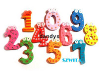 Wholesale Toy Magnets For Fridge - Free Shipping Children's Christmas Creative gifts Kids wooden toys magnetic stickers Arabic numbers fridge magnets for childrendandys