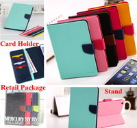 Wholesale S Mini Wallet Case - Mercury Wallet Stand Smart Leather Case For iPad 2 3 4 5 6 Air Pro 9.7 Mini Mini4 Samsung Galaxy Tab A T350 T550 S S2 T715 T815 T700 T800