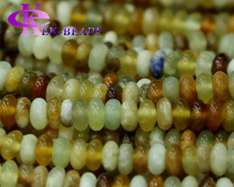 """Wholesale Nephrite Jade Beads - Discount Wholesale Genuine Natural Rainbow nephrite Jade Rondelle Loose Stone Beads Fit Jewelry DIY Necklaces or Bracelets 16"""" 03274"""
