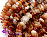 """Wholesale Natural Lace Agate - Discount Wholesale Perfect Natural sardonyx Red Lace Agate Rondelle Loose Stone Beads Fit Jewelry DIY Necklaces or Bracelets 15.5"""" 03302"""
