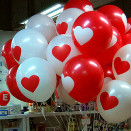 Wholesale Balloon Latex Heart Shape - 50 Pcs Red Heart Balloons Round Shape Latex Balloon Wedding Favors Party Decoration Mix Red and White