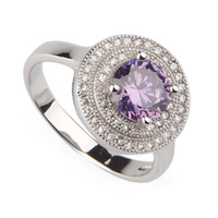 Discount amethyst stone jewelry sets - Amethyst Cubic Zirconia Fashion Micro inlays jewelry Trendy Silver Plated RING R3209 sz#6 7 8 9