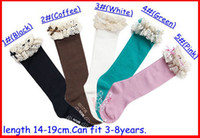 Wholesale Lace Top Boot Socks Wholesale - 2016 baby girl lace top socks kids Stockings classic knee BOOT high socks with lace solid color cotton socks 5color choose freely melee