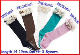 Wholesale girls lace knee socks - baby girl lace top socks kids Stockings classic knee BOOT high socks with lace solid color cotton socks 5color choose freely melee