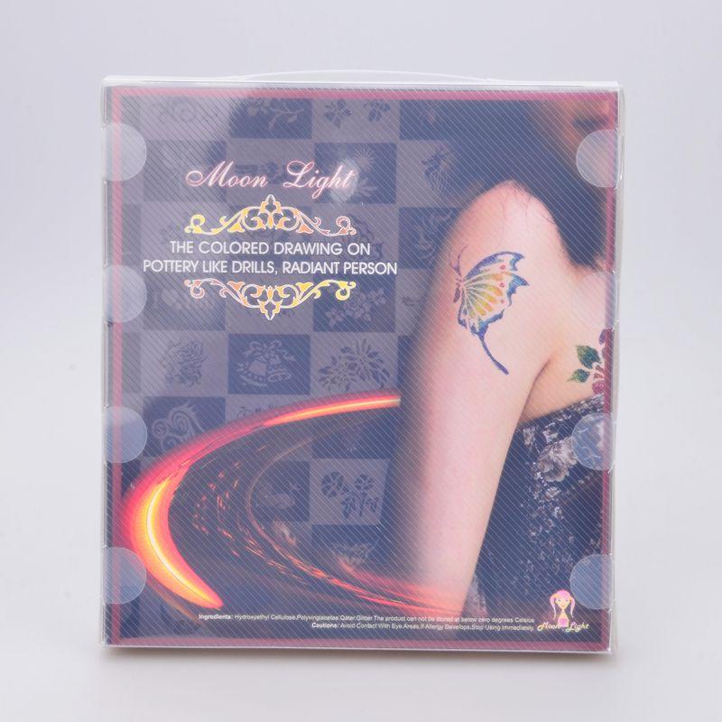 temporäres Tattoo Glitter Tattoo Kit 6 Farbpulver mit Schablonenkleber-Bürstenvorrat