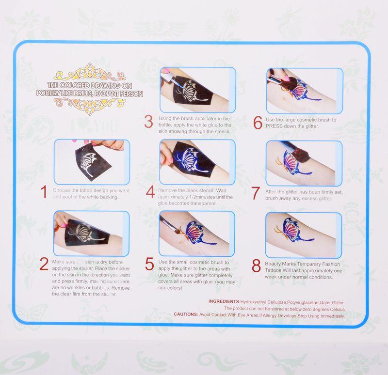 المؤقتة الوشم بريق الوشم كيت 6 لون مسحوق مع فرشاة الاستنسل العرض