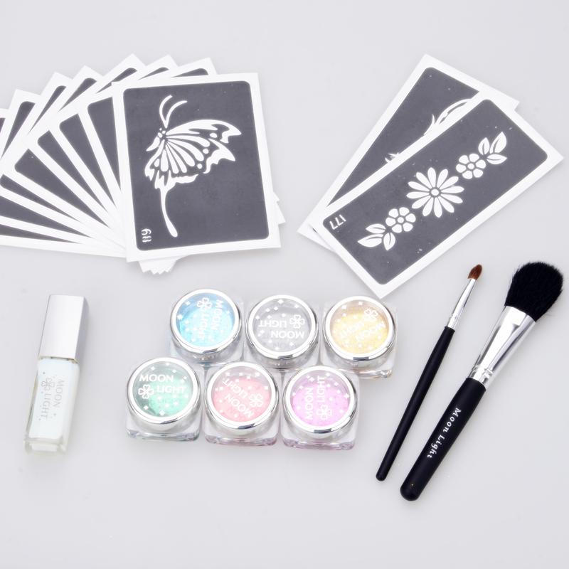 temporary tattoo glitter tattoo Kit 6 color powder with stencil glue brush supply