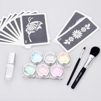 Wholesale Temporary Tattoo Glue Stencil - temporary tattoo glitter tattoo Kit 6 color powder with stencil glue brush supply