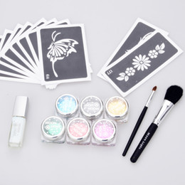 Wholesale Temporary Tattoo Supplies Wholesale - temporary tattoo glitter tattoo Kit 6 color powder with stencil glue brush supply
