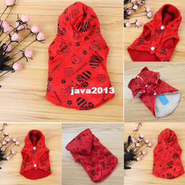 Wholesale Dropshipping Dog Coat - FreeShipping Dog Cat Red Fleece Hoodie Sweater Pet Clothes Puppy Apparel Coat Jacket Costume DropShipping
