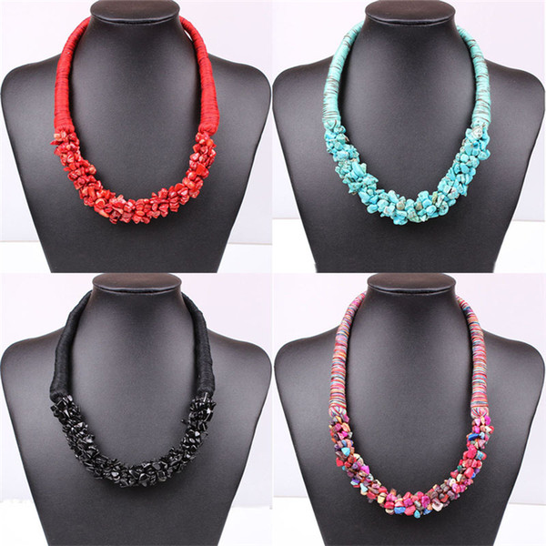 Bohemian Natural Stone Statement Necklaces Handmade Fabric Stone Beads Chokers Bib Necklace With Earrings Personalized Jewelry XL593