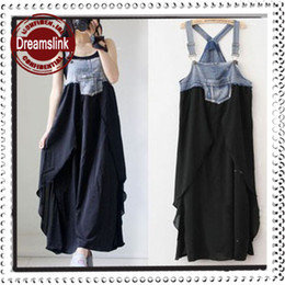 Wholesale Korean Jeans Dresses - Maternity dress 2013 Korean version of maternity jeans stitching irregular chiffon strap dress pregnant women dresses #9739