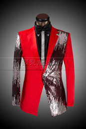 Wholesale Plus Size Sequined Jackets - Men Fashion Sequined Dress Bust Suit Casual Suit Jacket Black And Red Wedding Master Of Ceremonies Presided Studio Clothing