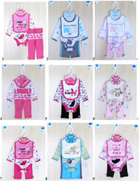 Wholesale Baby Clothing Bibs - 4 pcs set Baby Rompers Pant bibs socks Set infant long Sleeve Bodysuits Baby Girl Clothes 12sets lot#3480