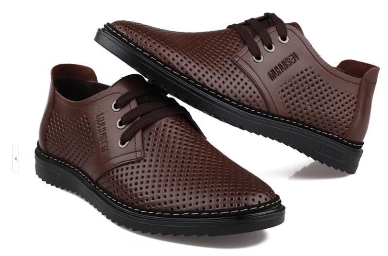 Yeni stil erkek deri ayakkabı Delik delik ayakkabılar nefes deri sandalet Oymak makine dikiş ipliği dantel-up ayakkabı LX33
